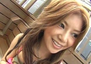 Akane Hotaru lovely Jap fingered in public