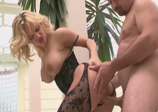 Busty golden-haired milf in lingerie banged