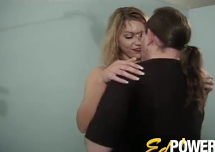 Blonde with wonderful natural tits has her hirsute cunt drilled