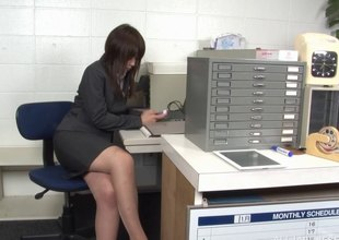 Oriental MILF has her pantyhose ripped and bawdy cleft fucked in the office