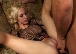 Wicked busty blondie Kelly Wells gets both holes drilled missionary