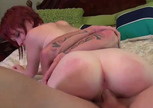 Redhead chick with petite booty gives awesome ride on a dick