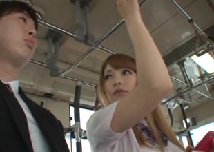 Brilliant Asian dame in miniskirt giving her guy blowjob in the bus