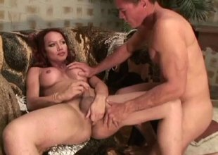 Salacious tranny blowjobed and her ass drilled hardcore