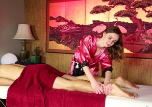 Slim and slutty masseuse doesn't let her clients go out of a cook jerking