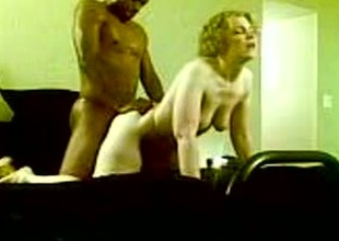 Fucking a comme ci prostitute's pussy from behind with my black log