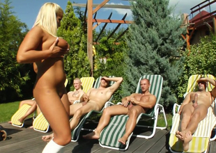 Lecheous slut with tanned skin Lucy gives head to several dudes