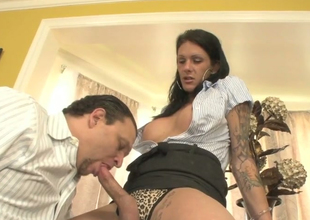 Slutty brunette shemale Jay Ashley gives head to Morgan Bailey