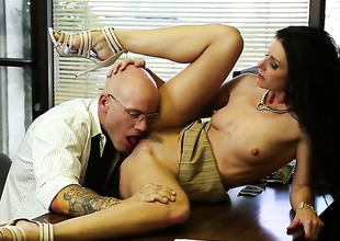 Sex in office with petite MILF