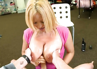 Blonde Charlee Chase really likes pulsating pole fucking her desirous hands