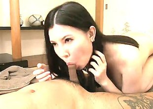 This horny breasty asian is gonna make you bust out all of the load you got in your balls. Just as that babe did with the guy in the video. Her big bazonkas are gonna make you go bananas over her as that babe fucks and sucks the D.