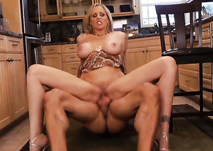 Julia Ann with big butt and trimmed muff finds her slit full of love juice after sex with Alan Stafford
