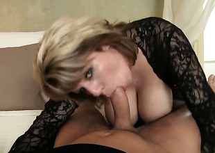 Sultry goddess shows her dick engulfing skills in blowjob action with David Perry
