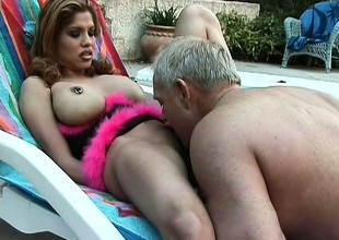 Big breasted Lalin girl Alexis gets her peach eaten out and fucked outside