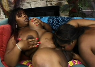 Curvaceous black lesbians surrender their needy pussies to one one more