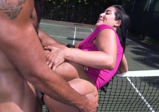 Fit man fucks his big dick into the tight cunt of a hot Latina slut