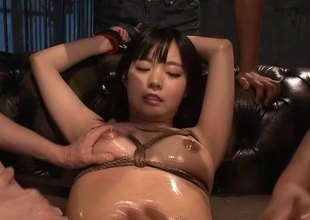 Fishnet wearing Japanese bitch gets used like a slut
