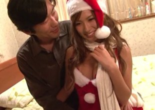 Kinky Oriental bitch gets licked and fucked hard for Christmas