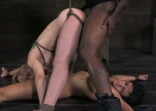 Submissive chicks are getting dominated by a BBC in hawt BDSM scene