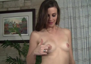 Cowgirl with small boobs gives oral-service and her shaved cum-hole pinned