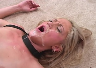 Breasty blonde giving big black rod fellatio before getting her anal being banged hardcore