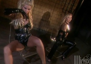 Sucking toes and fucking two beautiful dominant ladies in latex