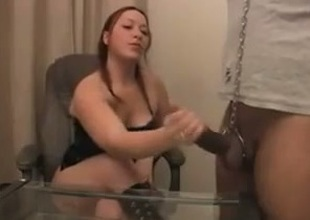 Pigtailed redhead hooker favours me with a passionate cook jerking