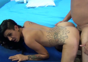 Charming brunette hair gal Aimee Black gets banged in doggy style