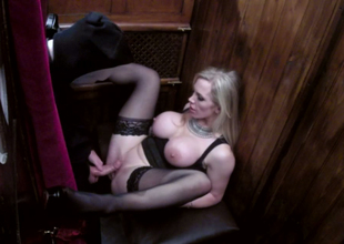 Nasty blond hoe with huge boobs Rebecca Moore copulates a priest