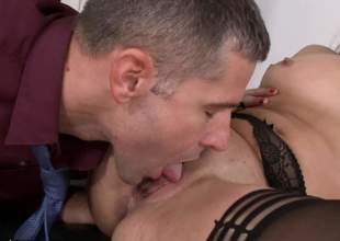 Office hotty Kristall Rush in black nylons exposes her tiny nipples and trimmed bush as her horny as hell co-worker drills her constricted vagina with his rock solid cock. Shes so hot!