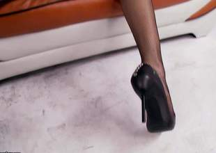 Lovely brunette Anna Morna in high heel shoes pulls her black panties aside and gets her beautifully trimmed fur pie permeated from behind. This small titty doll can't live without balls unfathomable fur pie pounding!