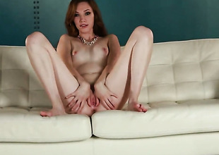 Aria Amor with small tities and clean slit strips down to her unclothed skin and then masturbates for camera