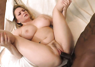 Aiden Starr with phat butt has fire in her eyes as she takes cum discharged on her nice face