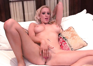 With massive jugs and bald cunt strips down to her bare skin and then masturbates for webcam