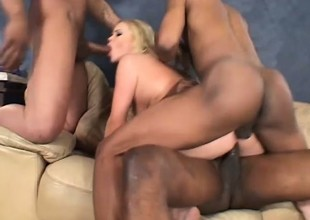 Filthy golden-haired gets pounded hard by four black dudes at the same time