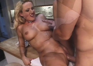 Busty golden-haired Milf whore Zora gets all her stuff used and eats his cum