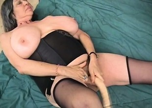 Funky large tit older Bertha gets Andrew to drill her after masturbating