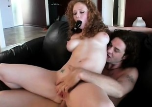 Audrey Hollander drinks down some milky cum after an anal reaming