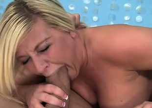 Curvy golden-haired Heidi Hollywood blows a huge prick and gets pounded deep