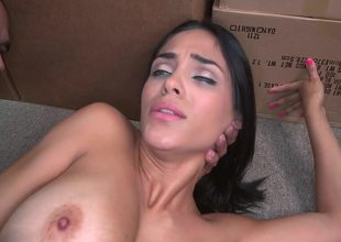 Amateur Latin chick with tan lines is fucking in the storage room