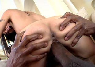 Pierced clit slut Lou Charmelle sits on a black dick and rides