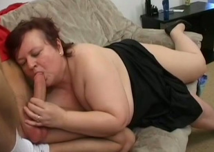 This insatiable BBW whore has a fetish for younger fellows