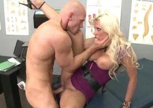 Bald-headed fucker for busty slut