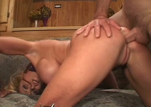 Huge breasted auburn nympho gets analfucked doggy and gives oral pleasure