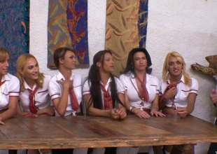 Uniform-clad sheboy with long blonde hair and large boobs enjoying a hardcore team fuck