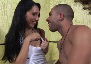 Petite dick transsexual with tiny tits takes dick up the ass