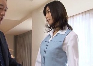 Hose wearing Japanese lady gets a large load of cum in her mouth