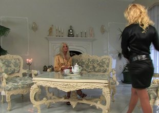Blonde lesbian babes have some tea then finger slam each other