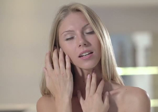 Mesmerizing blonde angel Angelica takes off her panties