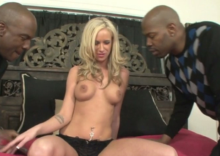 Sexy blondie Kaylee Hilton gets banged hard by two black dudes
